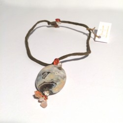 Green silk necklace wit jasper, carnelian and rock crystal