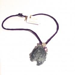 Lila Halsreif mit Bergkristall, Quarz und Amethyst