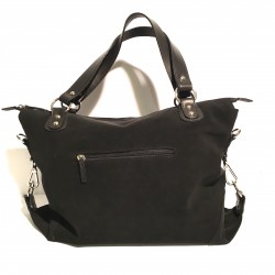 Leather Handbag Maxi black Velvet