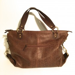 Leather Handbag Maxi brown patterned 2