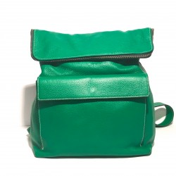 Leather Handbag/Backpack ZIP Green
