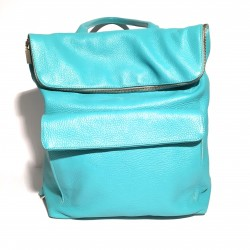 Leather Handbag/Backpack ZIP Lightblue