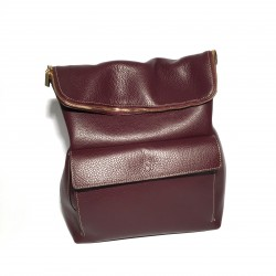 Leather Handbag/Backpack ZIP Aubergine