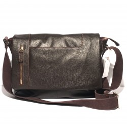 Leather Business Computer Handbag Dark Brown