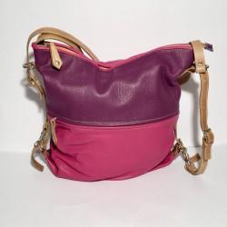 Lederhandtasche/Rucksack Double Pink