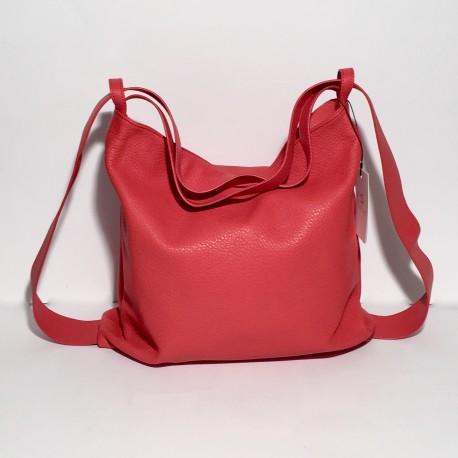 Lederhandtasche/Rucksack Roma Rot