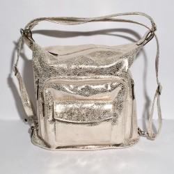 Lederhandtasche/Rucksack Napoli Gold