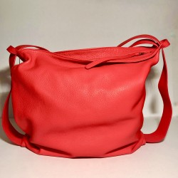 Leather Handbag/Backpack Roma Red