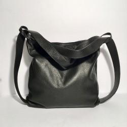 Leather Handbag/Backpack Milano grey