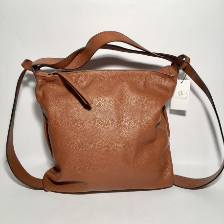 Leather Handbag/Backpack Roma dark brown