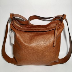 Leather Handbag/Backpack Roma dark brown dotted