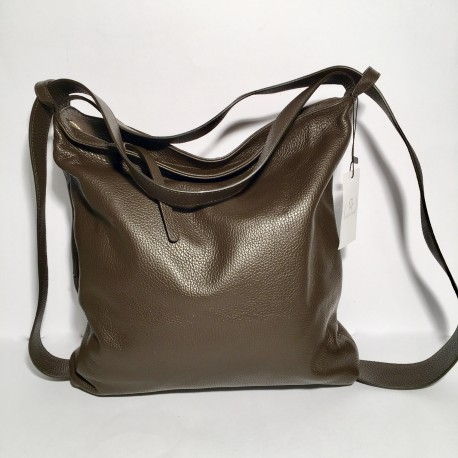 Leather Handbag/Backpack Roma choco-brown