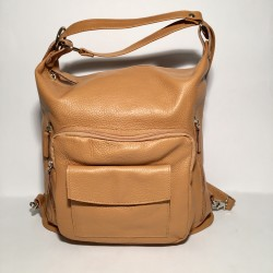 Leather Handbag/Backpack Napoli light brown