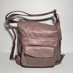 Leather Handbag/Backpack Napoli mud-tone