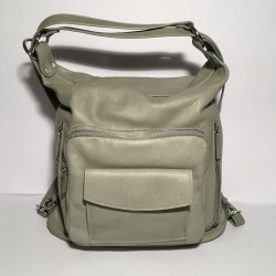 Leather Handbag/Backpack Napoli water green