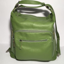 Leather Handbag/Backpack Napoli green