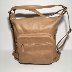 Leather Handbag/Backpack Napoli beige
