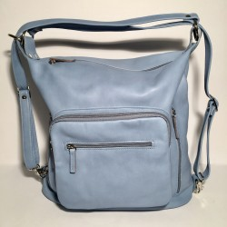 Leather Handbag/Backpack Napoli light blue