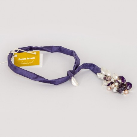 Floriana Iacovelli - Lila silk necklace with amethyst & keshi pearls