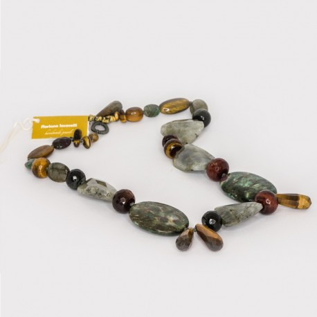 Floriana Iacovelli - Necklace with mixed stones (jasper, tigers eye stone, Hawkeye, labradorite)