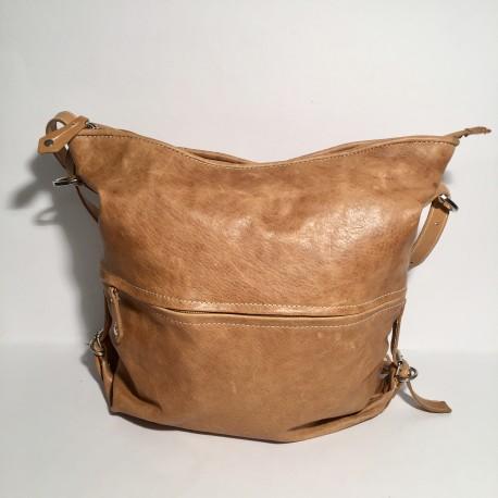 Lederhandtasche/Rucksack Hellbraun