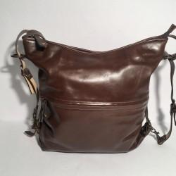 Leather Handbag/Backpack shiny brown
