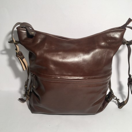 Leather Handbag/Backpack shiny brown