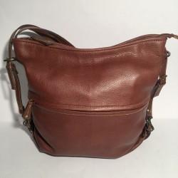Lederhandtasche/Rucksack Gehämmertes Braun