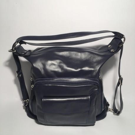 Leather Handbag/Backpack Napoli dark blue