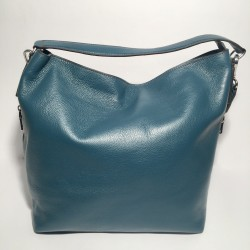 Leather Handbag Savona petrol green