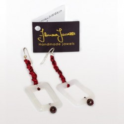 Floriana Iacovelli - Ohrringe mit Bergkristall & milchigem Granat in Rot