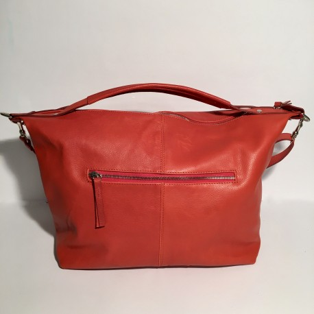 Leather Handbag Natalia Red