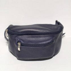 Leather Belly Bag Casual Blue
