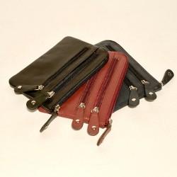 Leder Portemonnaie/Schlüsselnanhänger 3 Zip