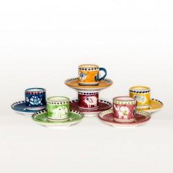 Solimene handbemaltes Espresso Set (Tasse+Teller)