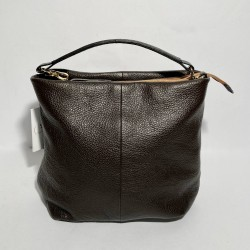Leather Handbag  SARA dark brown