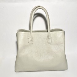 "Leather Handbag ""Prato"" White"