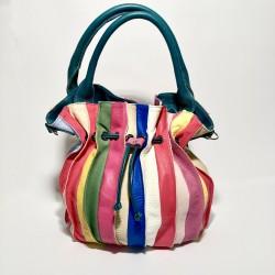 Leather Handbag LOLLOPOP (petroleum-colored handle)