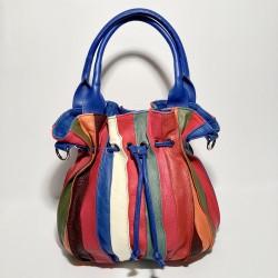 Leather Handbag LOLLIPOP (blue handle)