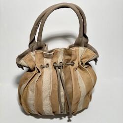 Lederhandtasche LOLLIPOP (schlammfarbener Griff)