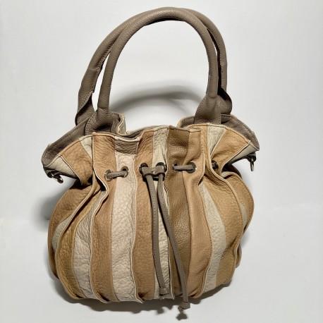 Leather Handbag LOLLIPOP (mud-coloured handle)