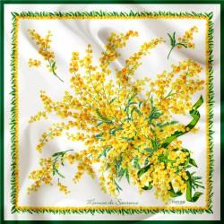 Daphne Silk Scarf Mimosa on white