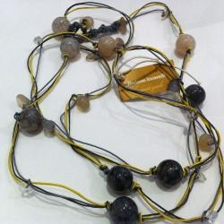 Floriana Iacovelli - Langes gelb-graues Halsband mit Achat & Bergkrystall